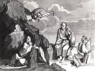Chinese-Magicians-And-Sorcerers,-Illustration-From-Ceremonies-Et-Coutumes-Religieuses-Des-Peuples-Idolatres,-Published-In-Amsterdam,-1798